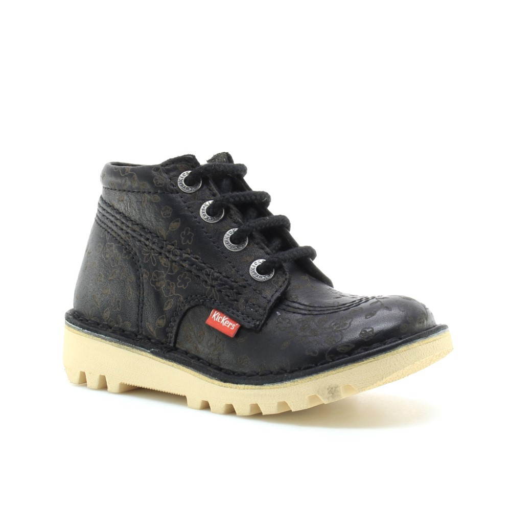 Zapatos Kickers NeoRallye Negro Flores