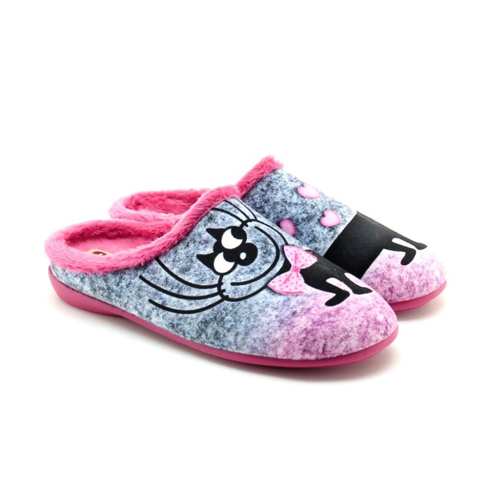 Zapatillas casa niña Fucsia Gatito