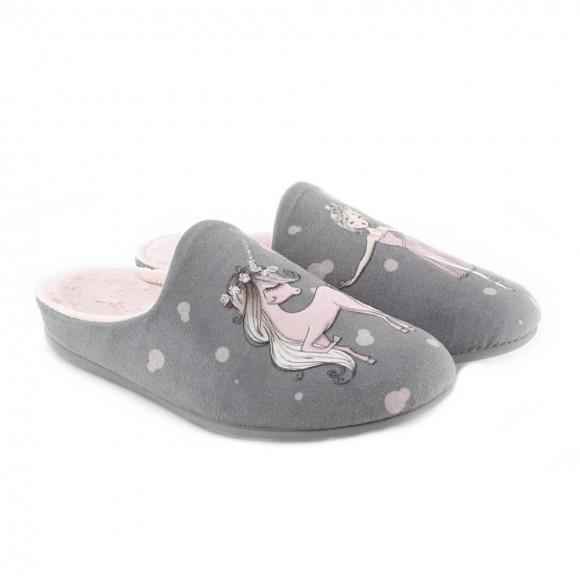 Zapatillas de casa Caballo-Ballet Gris
