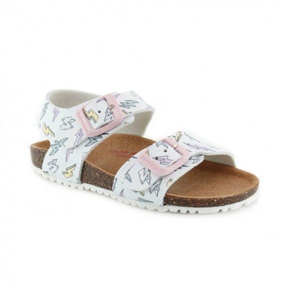 Sandalias de niña Garvalin 212437-B Blanco Rayos