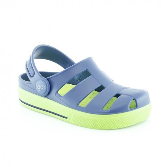 Sandalias de agua Igor Ola Azul-Verde.