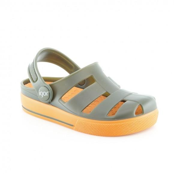 Sandalias de agua Igor Ola Verde-Naranja