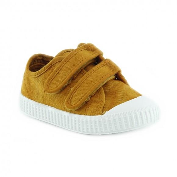Zapatillas de lona Zapy velcros Mostaza
