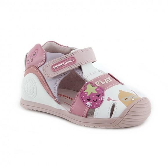 Sandalias de niña Biomecanics 212113-A Blanco-Rosa