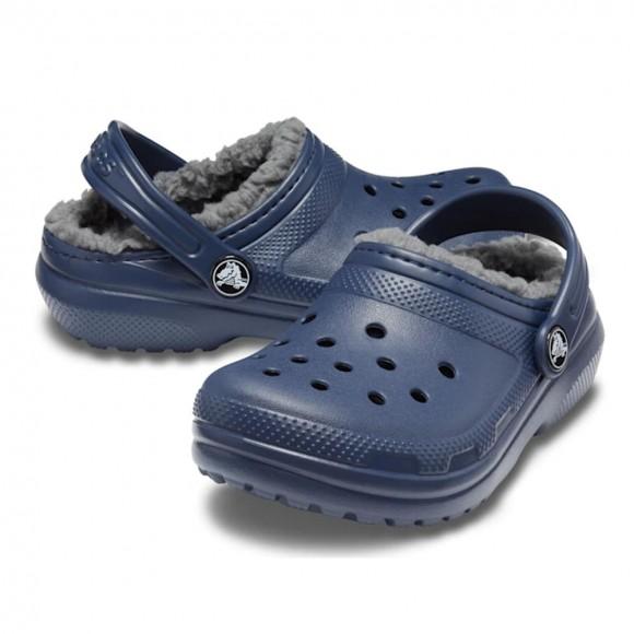 Zuecos forrados Crocs Classic Lined Azul.